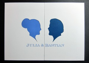 Laser cut folding card wedding Julia and Bastian